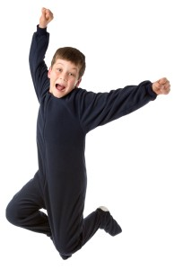 Navy Footed Fleece Pajamas for Kids