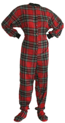 Flannel Adult Footed Pajamas in Red and Black (101)