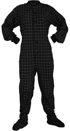 Flannel Adult Footed Pajamas in White and Black (102)