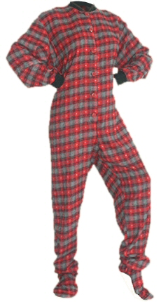 Flannel Adult Footed Pajamas in Red and Black with Gray Hearts (103)