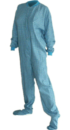 Turquoise Flannel Unisex Adult Footed Pajamas   SIZES  XS  S  L