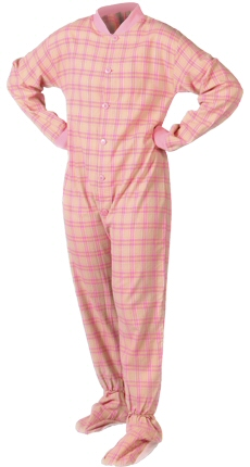Flannel Adult Footed Pajamas in Pink and Yellow (107)