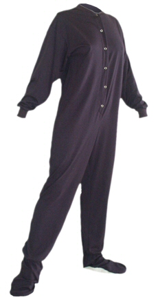 Jersey Knit Adult Footed Pajamas in Navy Blue (301)