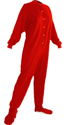 Jersey Knit Adult Footed Pajamas in Red (304)