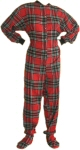 Flannel Adult Footed Pajamas in Red and Black (101) - PJs with Feet