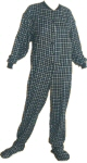 Flannel Adult Footed Pajamas in White and Black (102) - PJs with Feet