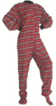 Flannel Adult Footed Pajamas in Red and Black with Gray Hearts (103) - PJs with Feet