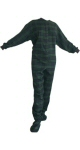 Flannel Adult Footed Pajamas in Navy Blue and Green (104) - PJs with Feet