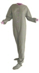 Flannel Adult Footed Pajamas in Sea Foam Green and Lavender (105) - PJs with Feet