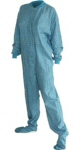 Flannel Adult Footed Pajamas in Turquoise (106) - PJs with Feet