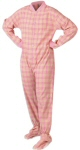 Flannel Adult Footed Pajamas in Pink and Yellow (107) - PJs with Feet