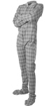 Flannel Adult Footed Pajamas in Gray and White (109) - PJs with Feet