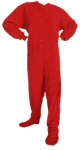 Micro-Polar Fleece Adult Footed Pajamas in Red (201) - PJs with Feet