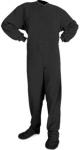 Micro-Polar Fleece Adult Footed Pajamas in Black (203) - PJs with Feet
