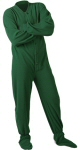 Micro-Polar Fleece Adult Footed Pajamas in Hunter Green (204) - PJs with Feet