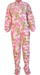 Camouflage Micro-Polar Fleece Adult Footed Pajamas in Pink (207) - PJs with Feet