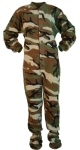 Camouflage Micro-Polar Fleece Adult Footed Pajamas in Green and Brown (208) - PJs with Feet