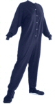 Jersey Knit Adult Footed Pajamas in Navy Blue (301) - PJs with Feet