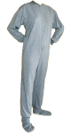 Jersey Knit Adult Footed Pajamas in Light Gray (302) - PJs with Feet
