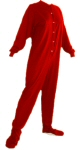 Jersey Knit Adult Footed Pajamas in Red (304) - PJs with Feet