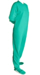 Jersey Knit Adult Footed Pajamas in Turquoise (305) - PJs with Feet