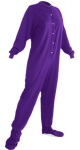 Jersey Knit Adult Footed Pajamas in Purple (306) - PJs with Feet