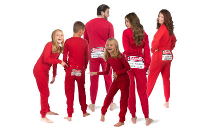 Matching Blasting Area Butt Flap Union Suit Onesie Sets