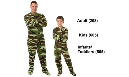 Matching Green Camouflage Fleece Footed Pajamas Sets