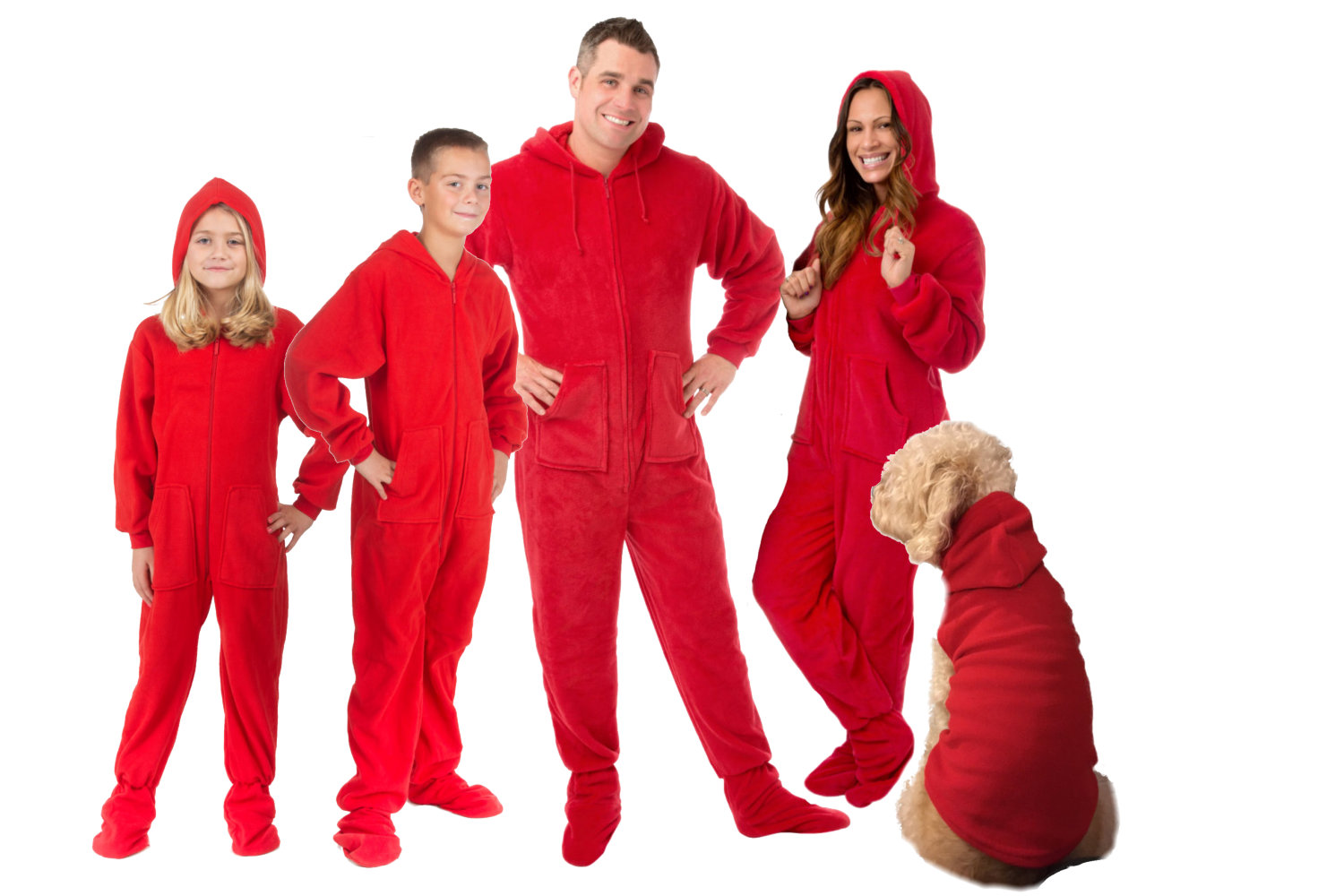 Matching Red Hoodie Footed Fleece Pajama Sets