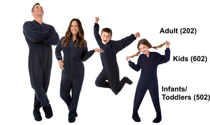Matching Navy Fleece Footed Pajamas Sets