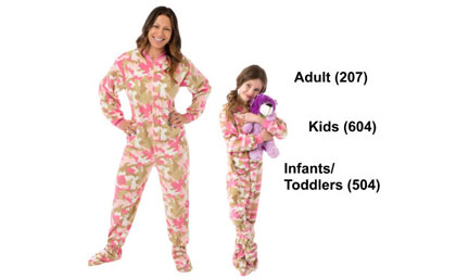 Matching Pink Camouflage Fleece Footed Pajamas Sets