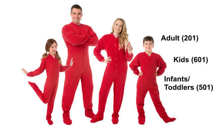 Matching Red Fleece Footed Pajamas Sets