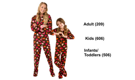 Matching Chocolate Brown w/ Hearts Fleece Footed Pajama Sets