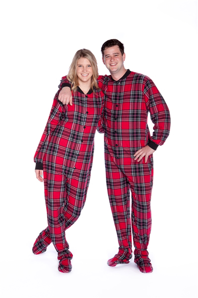 Flannel Adult Footed Pajamas In Red And Black Plaid Onesie For Men