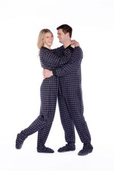 flannel adult footed pajamas in black and white plaid