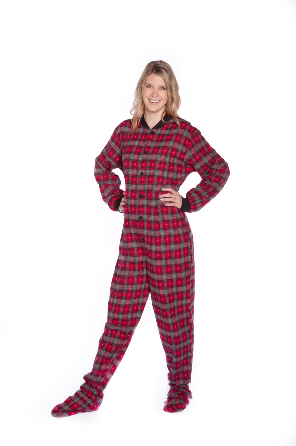 d5f4af5b8 Red and Grey Flannel Adult Footed Pajamas with Small Gray Hearts ...