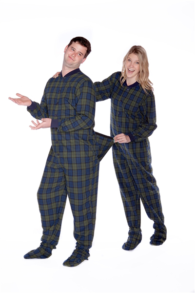 Flannel Adult Footed Pajamas in Navy Blue and Green