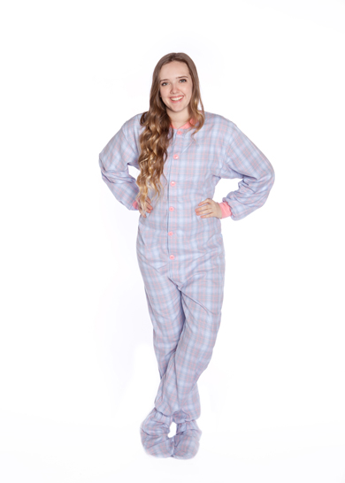 Flannel Adult Onesie Footed Pajamas In Baby Blue And Pink