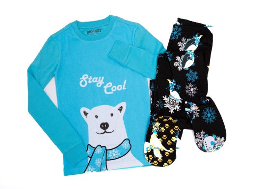 2 Piece Footed Pajamas Stay Cool Polar Bear. Available In Blue or Red