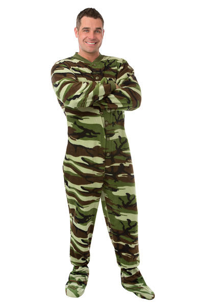 377902c168 Camouflage Micro-Polar Fleece Adult Footed Pajamas in Green and Brown