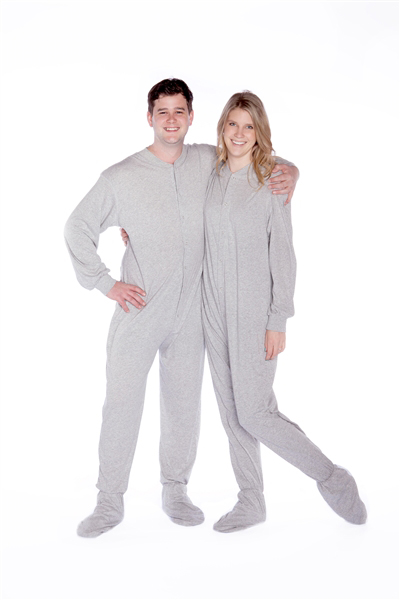 Jersey Knit Adult Footed Pajamas in Light Gray: Big Feet Footed ...