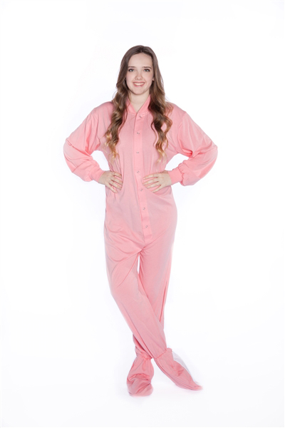 Jersey Knit Adult Footed Pajamas In Pastel Pink Big Feet