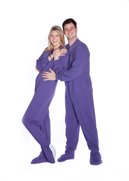 Jersey Knit Adult Footed Pajamas In Purple Big Feet