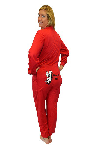 "Red Union Suit with Funny Butt Flap ""Wasn't Me"" Skunk   Men & Women Unisex  XS - XL"