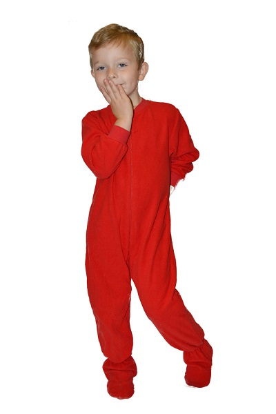 Red Micro Polar Fleece Onesies for Infants   Toddlers  Big Feet Onesie  Footed Pajamas 7d0a19bbe8d9