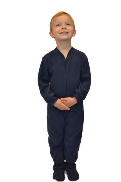 6fc66ce215d1 Navy Fleece Onesie Footie Pajamas for Infants   Toddlers  Big Feet ...