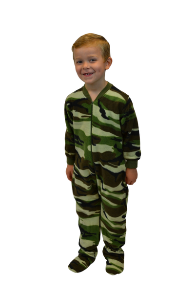 a76d56711 Infant   Toddler Green Camouflage Onesie Footie Pajamas  Big Feet ...