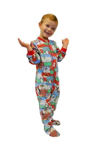 Christmas Print Fleece Onesie Infant Toddler Footie
