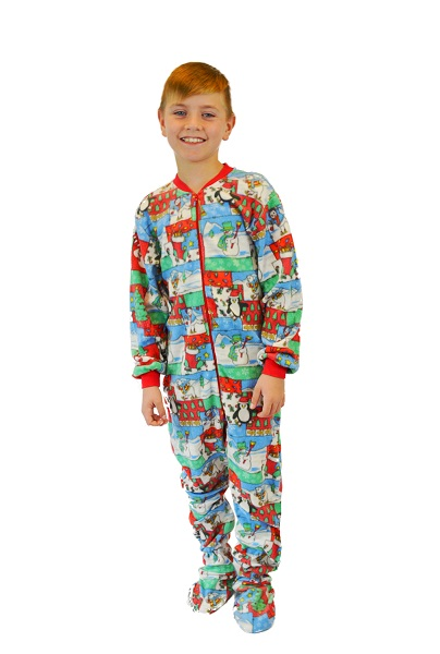 33e0beda282e Boys   Girls Winter Fun Christmas Fleece Kids Onesie Footie Pajamas  Big  Feet Onesie Footed Pajamas