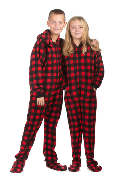 fd6f7439e3b3 Hoodie Footed Onesie Buffalo Plaid Fleece Pajamas for Boys   Girls ...